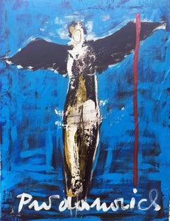 Black Angel on Blue
