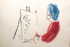 Le Peintre Rouge aux Cheveux Bleus