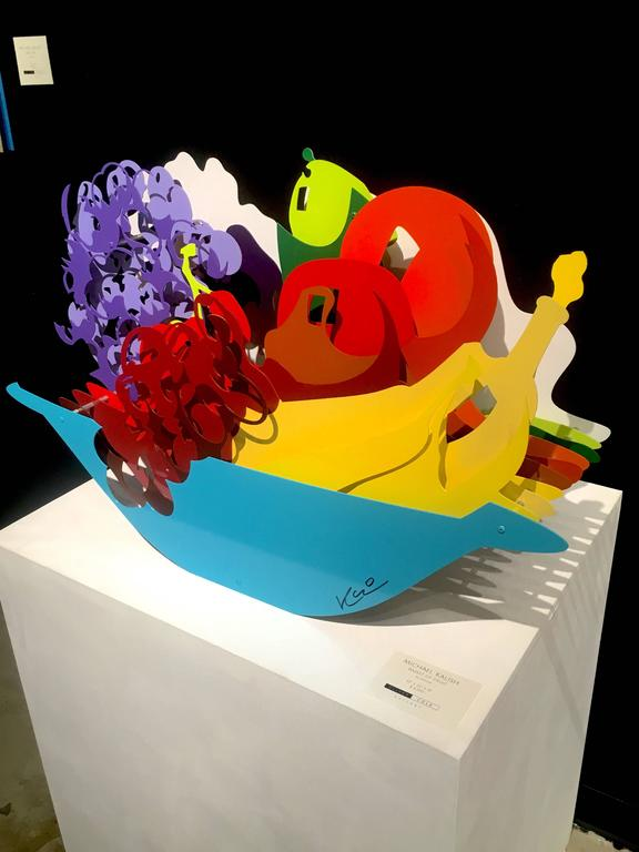 Michael Kalish, Basket of Fruit - Black Still-Life Sculpture by Michael Kalish