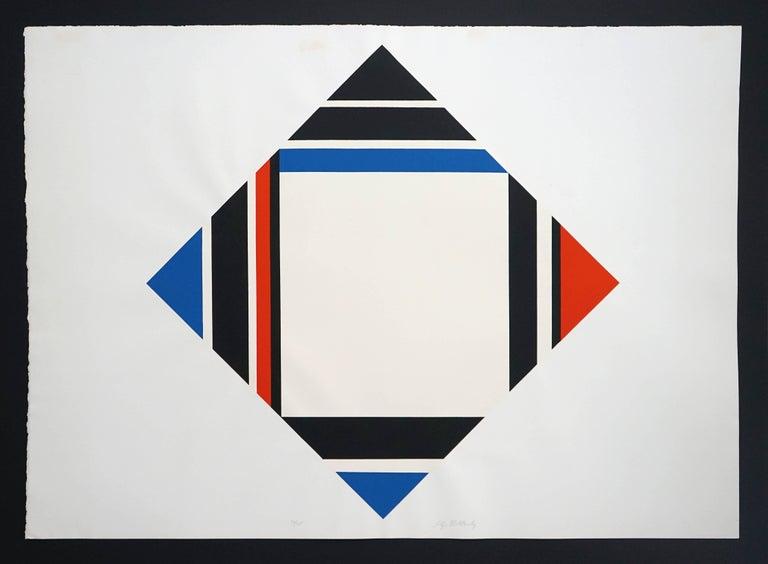 Ilya Bolotowsky Abstract Print - Red/Blue/Black Diamond