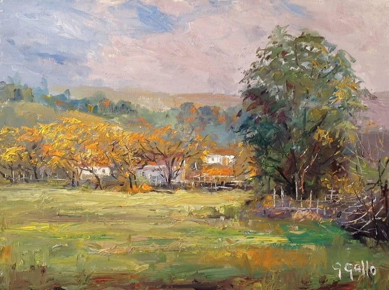 George Gallo Landscape Painting - Farm Houses in Morning Mist; Las Virgenes Canyon, Malibu