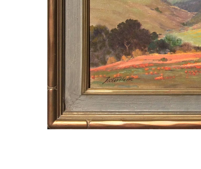 Untitled (California Landscape with Oaks and Poppies) - Brown Landscape Painting by George Sanders Bickerstaff