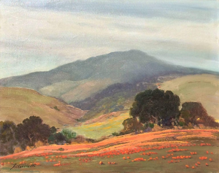 Untitled (California Landscape with Oaks and Poppies) - Painting by George Sanders Bickerstaff