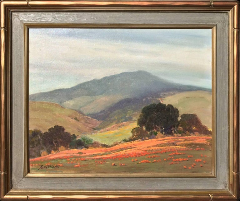 George Sanders Bickerstaff Landscape Painting - Untitled (California Landscape with Oaks and Poppies)