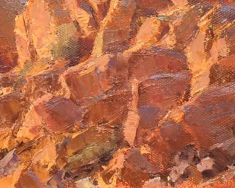 """Provenance Acquired by the gallery directly from the artist  Artist Statement """"Painted late one day after hiking up into the Comstock hills outside my home in Silver City, Nevada, to catch the low rays warming the rock planes facing the sun. I"""
