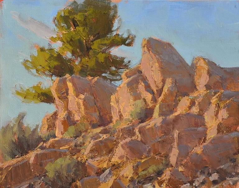 Rocks Catching Rays - Painting by Jean LeGassick