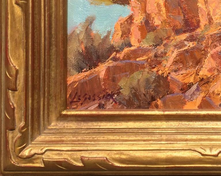 Rocks Catching Rays - Brown Landscape Painting by Jean LeGassick