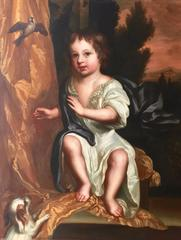 Portrait of a Child with a Spaniel and Sparrow c.1670