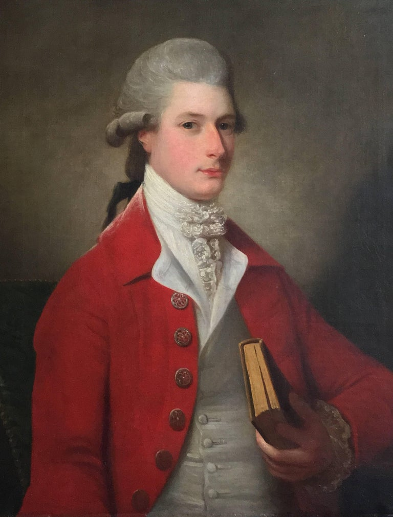 Portrait of Sir Archibald Seton Half-Length Wearing a Red Coat, Holding a Book. For Sale 1