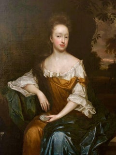 17th Century Portrait of a Lady in a Yellow Dress by Harmen Verelst.