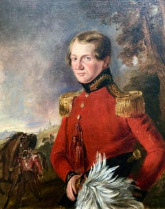 19th Century British Military Portrait of an Officer in a Red Jacket.