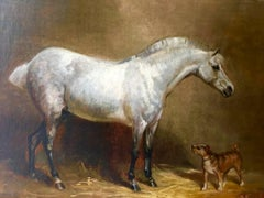 Grey Mare and Terrier in a Stable Attributed to Henry Frederick Lucas Lucas