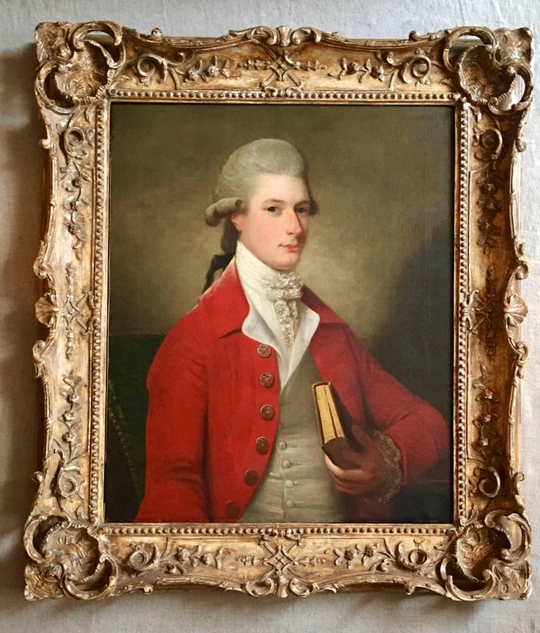 Portrait of Sir Archibald Seton Half-Length Wearing a Red Coat, Holding a Book. - Painting by David Martin