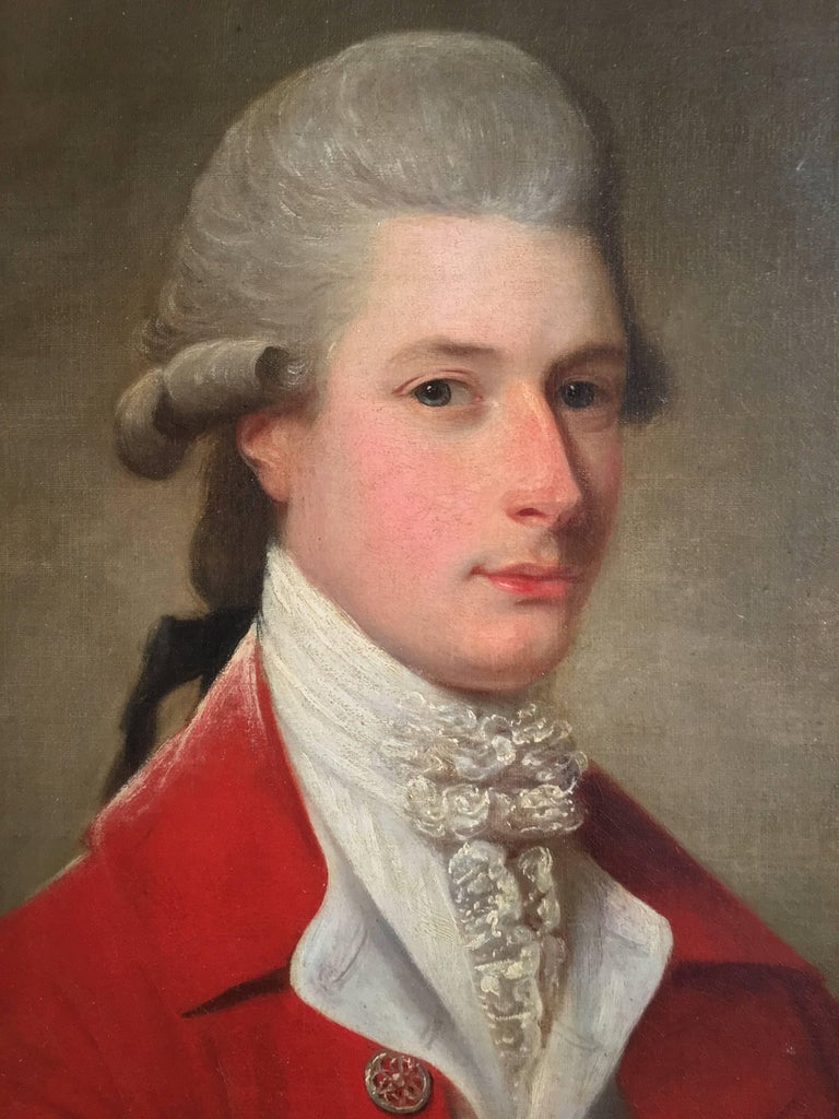Portrait of Sir Archibald Seton Half-Length Wearing a Red Coat, Holding a Book. - Black Portrait Painting by David Martin