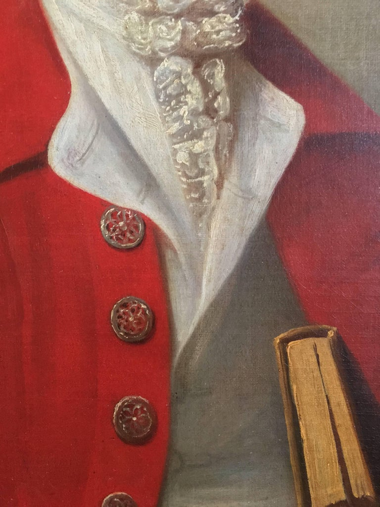 A fine and sensitively rendered 18th century British portrait of The Honourable Sir Archibald Seton Baron Touch and Tullibody Hereditary Armour Bearer to the King President at the Court of his Majesty Shah Alam II at Delhia Wearing a red coat,