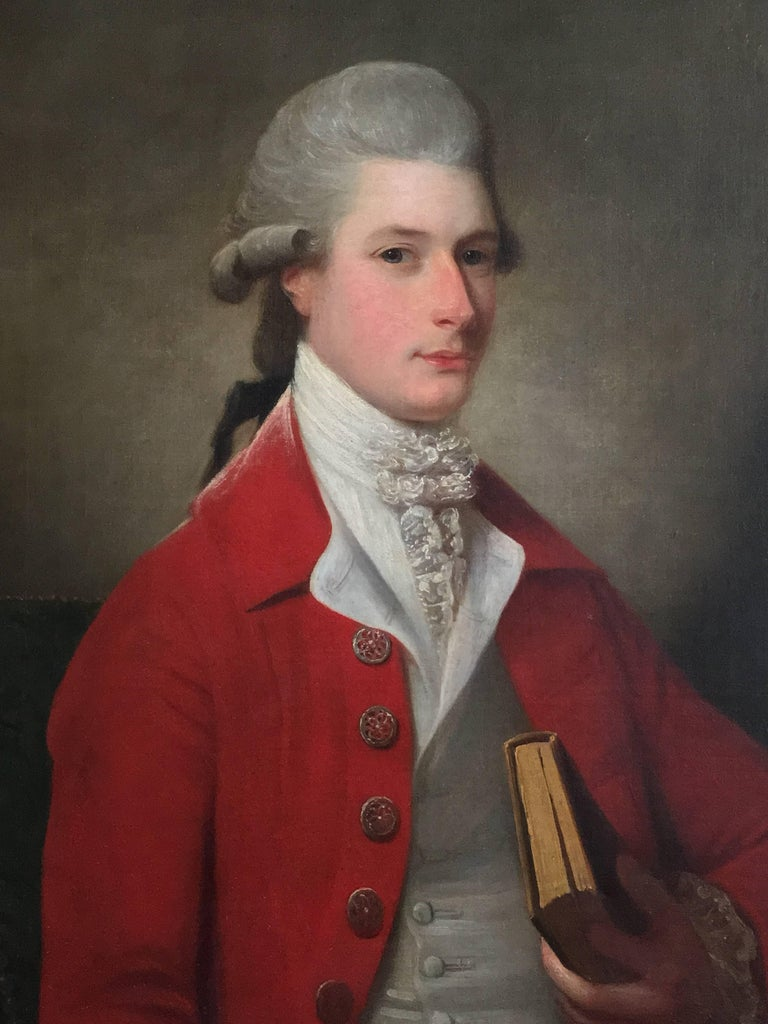 David Martin Portrait Painting - Portrait of Sir Archibald Seton Half-Length Wearing a Red Coat, Holding a Book.