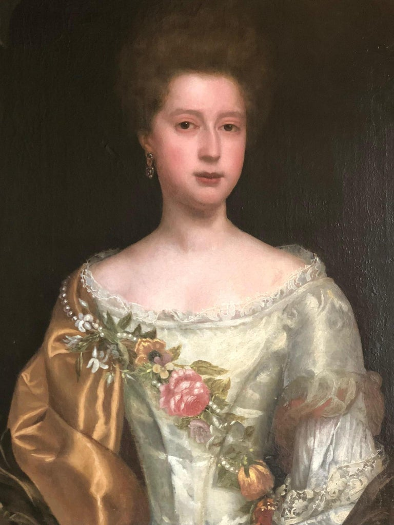 17th Century English Portrait of a Lady with Pearl and Flower Garland. - Painting by Thomas Bardwell