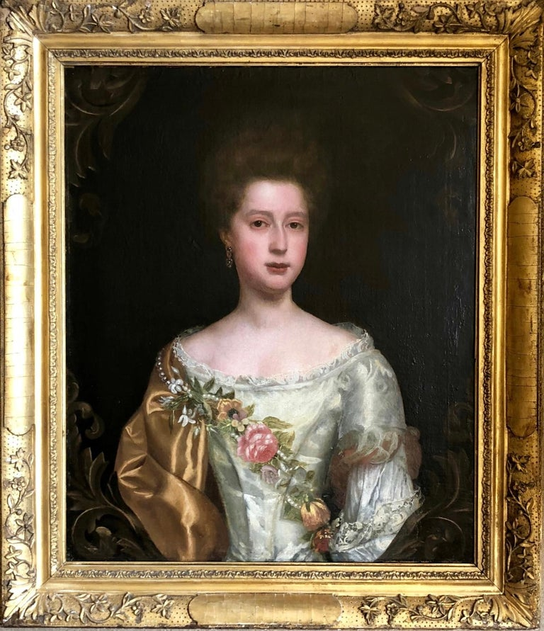 Thomas Bardwell Portrait Painting - 17th Century English Portrait of a Lady with Pearl and Flower Garland.