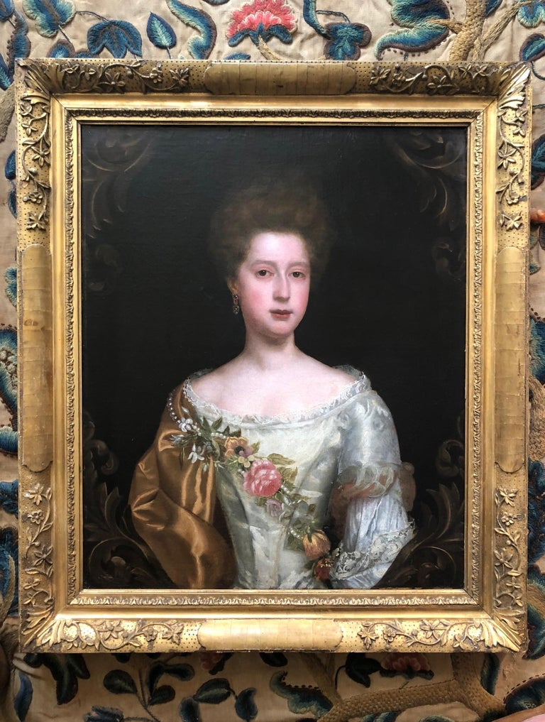 17th Century English Portrait of a Lady with Pearl and Flower Garland. For Sale 2