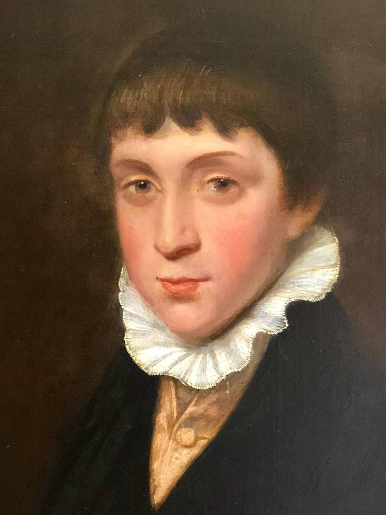 Portrait of a Regency Boy - Black Portrait Painting by George Watson P.R.S.A
