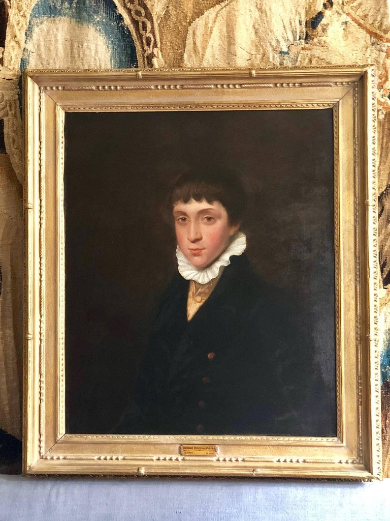 Fine and sensitively rendered portrait of a Regency boy circa 1820 by renowned artist George Watson (1767-1837) Oil on canvas in a period gilt frame.  The as yet unknown sitter (but likely a member of the gentry) wears the traditional costume of