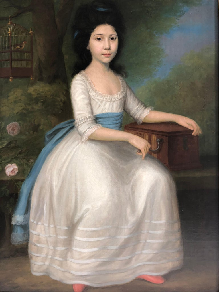 18th Century Portrait of a Girl in a White Dress with Finch and Music Box.