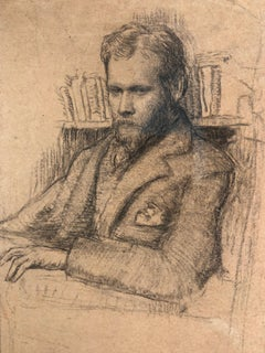 Early 20th Century Drawing a Study of Edward Nettleship by Augustus John RA.