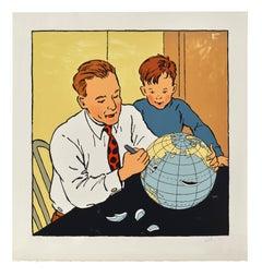 Man Cutting Globe