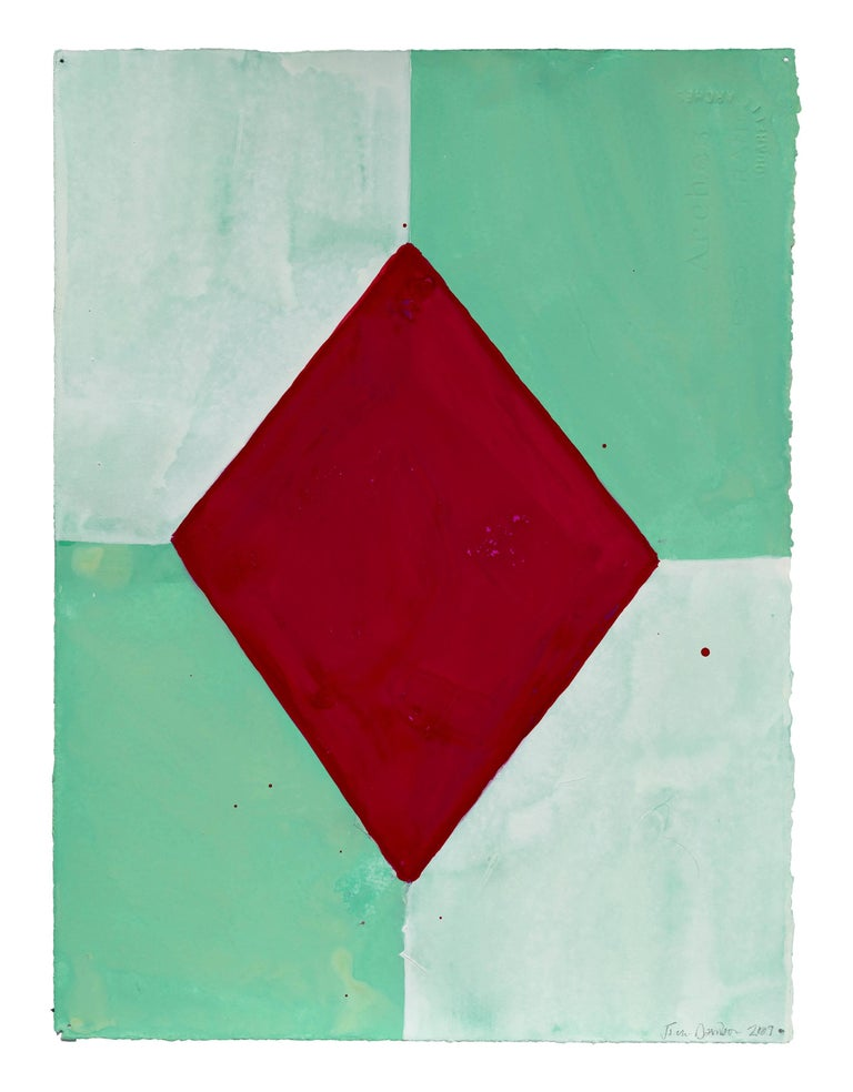 Jack Davidson Abstract Drawing - Untitled (red rhombus)