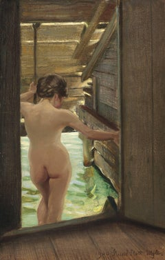 Nude Woman Bathing