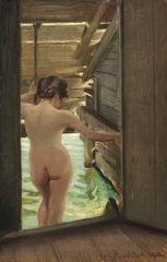 Nude Woman Bathing