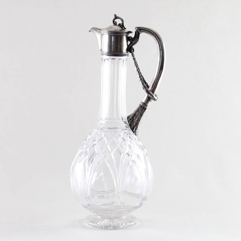 Russian silver mounted claret jug with cut glass and gilt interior, inscribed NS, 29 of April 1942, maker HC and marked 84, circa 1900