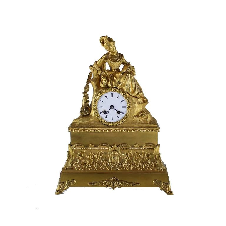 French Ormolu Clock with Lady in Court Dress Reading - Art by Unknown