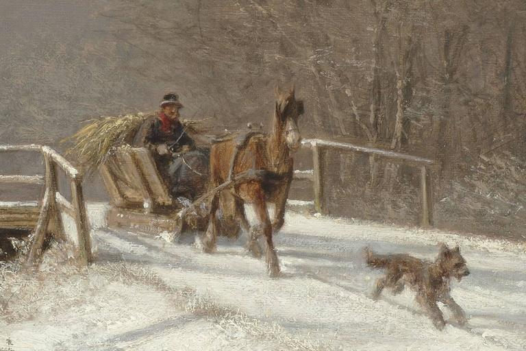 A Sleigh Ride - Barbizon School Painting by Frederik Rohde