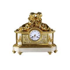 French Gilt-bronze Mantel Clock by Perrelet et Fils, circa 1850