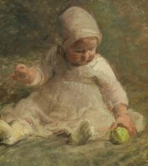 A Little Girl is Playing with a Green Apple