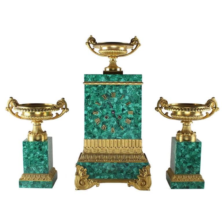 Rare Russian Malachite Garniture Set