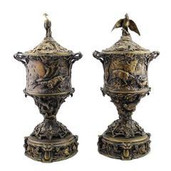 Pair of rare bronze urns