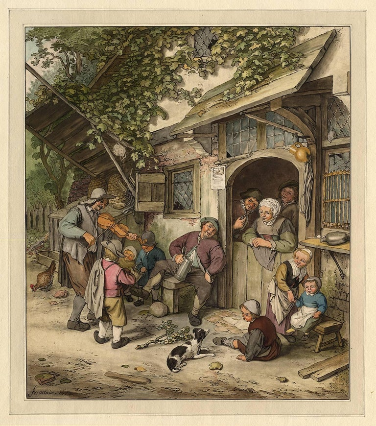 Adriaen van Ostade Figurative Print - Untitled - A Violin player plays the crowd near the entrance of an inn.
