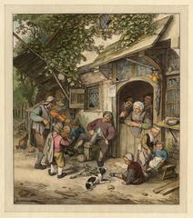 Untitled - A Violin player plays the crowd near the entrance of an inn.