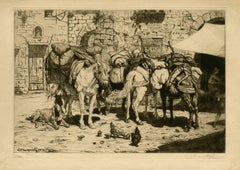 Set of 5, untitled - Pack animals on a market square.