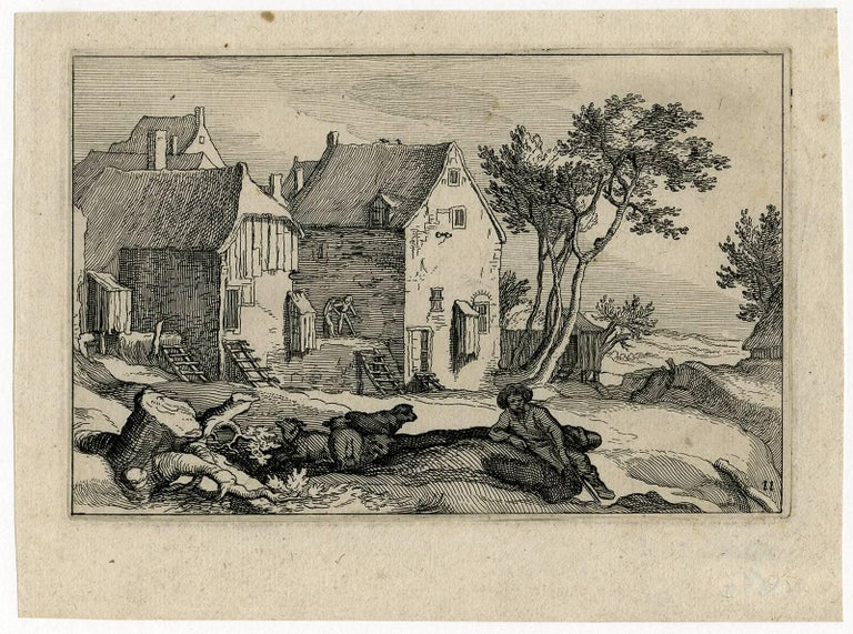 Abraham Bloemaert Landscape Print - Untitled - Landscape with a resting shepherd and farms in the background.