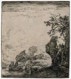 Untitled - Landscape with a path near a large rock near a stream.