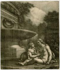 Untitled - A shepherd and shepherdess near a fountain.