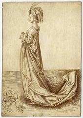 Untitled - A lady in a long dress and elaborate headdress with a dog.