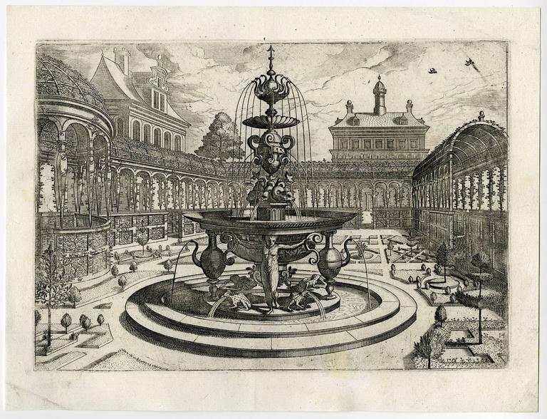 Johannes van Doetecum - Untitled - Fountain in a garden. 1