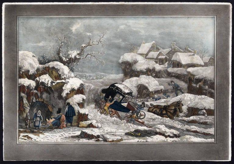 Philip Louis Debucourt Landscape Print -  Untitled - A coach stranded in the snow.