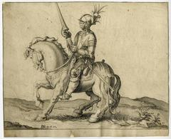Jacob de Gheyn II - Untitled - A lancer on horseback in full plate armor