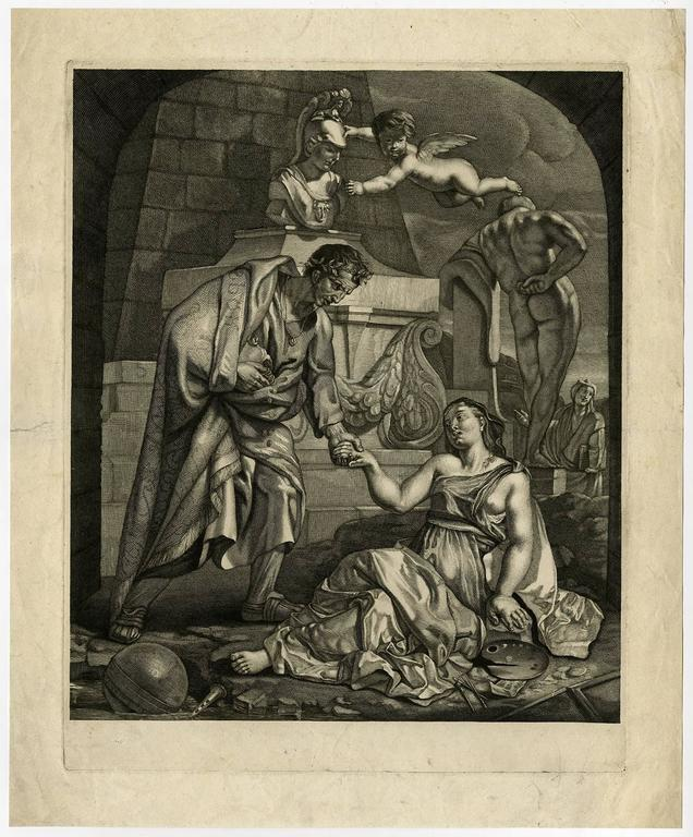 Gerard de Lairesse Figurative Print - Untitled allegory - Emperor Augustus helps a woman up