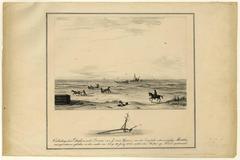 Ontlading der duikers van het schoenerschip Martha.